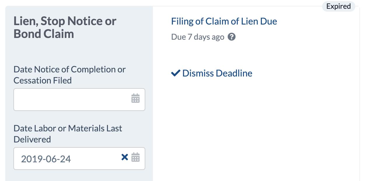 California Mechanics Lien Deadline Calculated